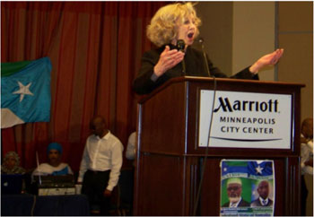 Diane Hofstede speaking at Jubbaland State of Somalia Celebration